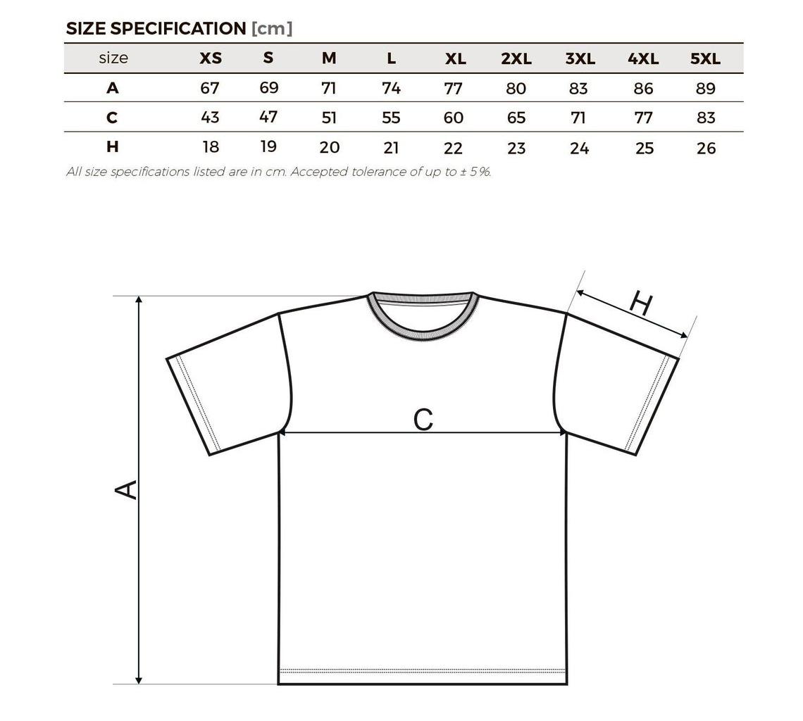 T-shirt unisex size table
