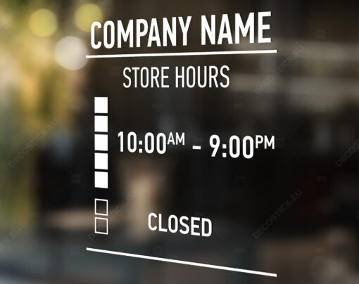 Store hours vinyl decal