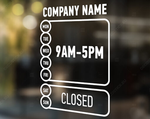 Store hours vinyl decal